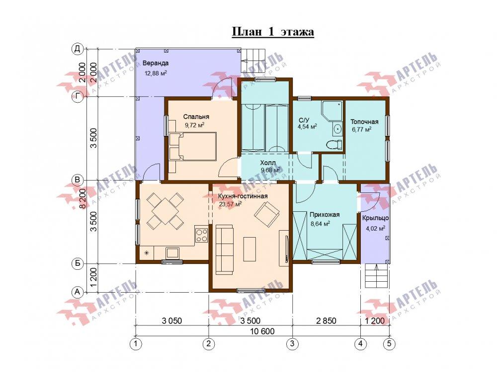 двухэтажный дом из профилированного бруса площадью от 100 до 150 кв. м. с  верандой, мансардой, эркером, проект Вариант 8.2 К фотография 6625