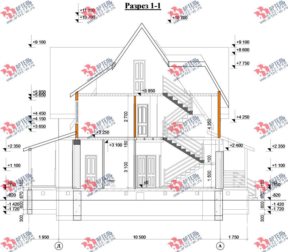 двухэтажный дом из камня площадью свыше 200 кв. м. с  террасой, проект Вариант 29 фотография 3187