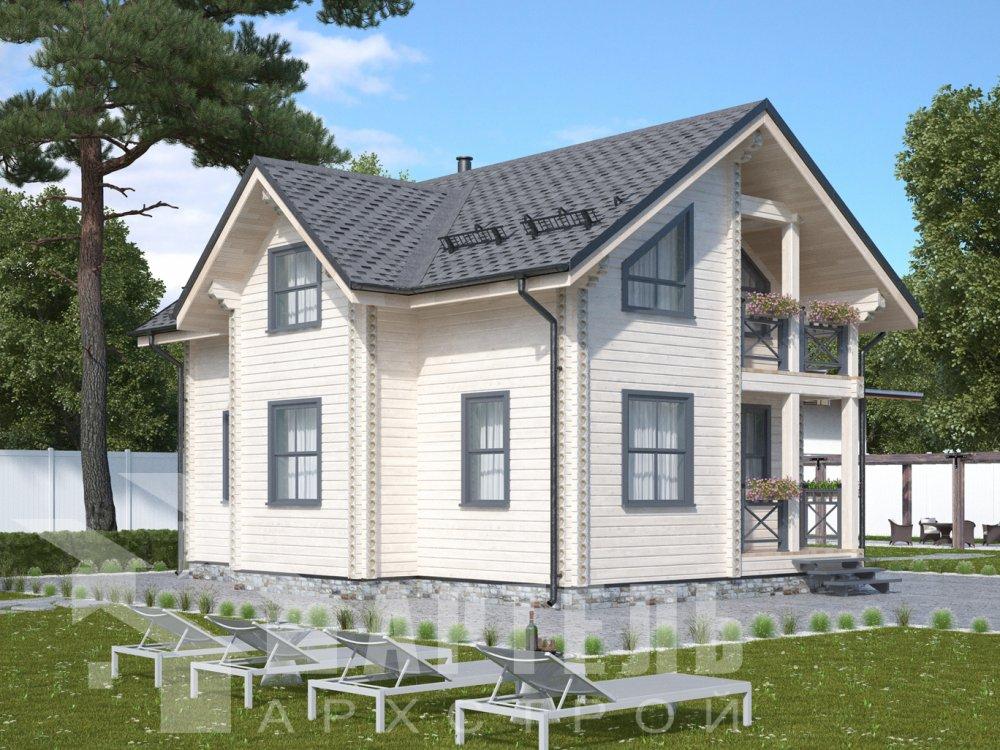 двухэтажный дом омбинированные дома площадью от 100 до 150 кв. м., проект Вариант 9,9К Камень и Комбинированный фотография 6504