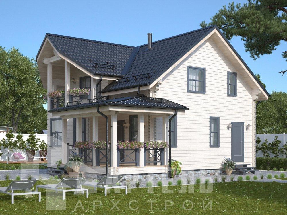 двухэтажный дом из профилированного бруса площадью от 100 до 150 кв. м. с  балконом, террасой, проект Вариант 10.7Л фотография 6553