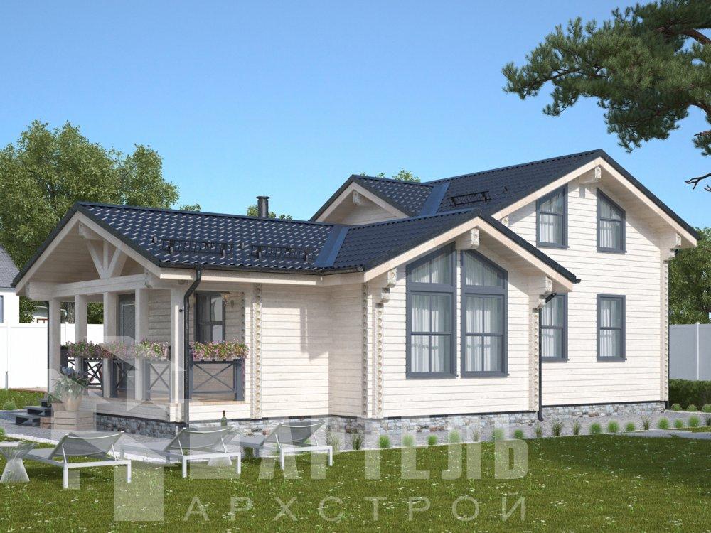 двухэтажный дом из профилированного бруса площадью от 100 до 150 кв. м., проект Вариант 13.3 А фотография 6586