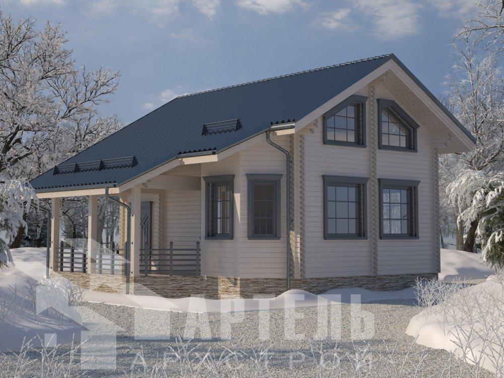 двухэтажный дом из профилированного бруса площадью от 100 до 150 кв. м. с  верандой, мансардой, эркером, проект Вариант 6 Л фотография 6620