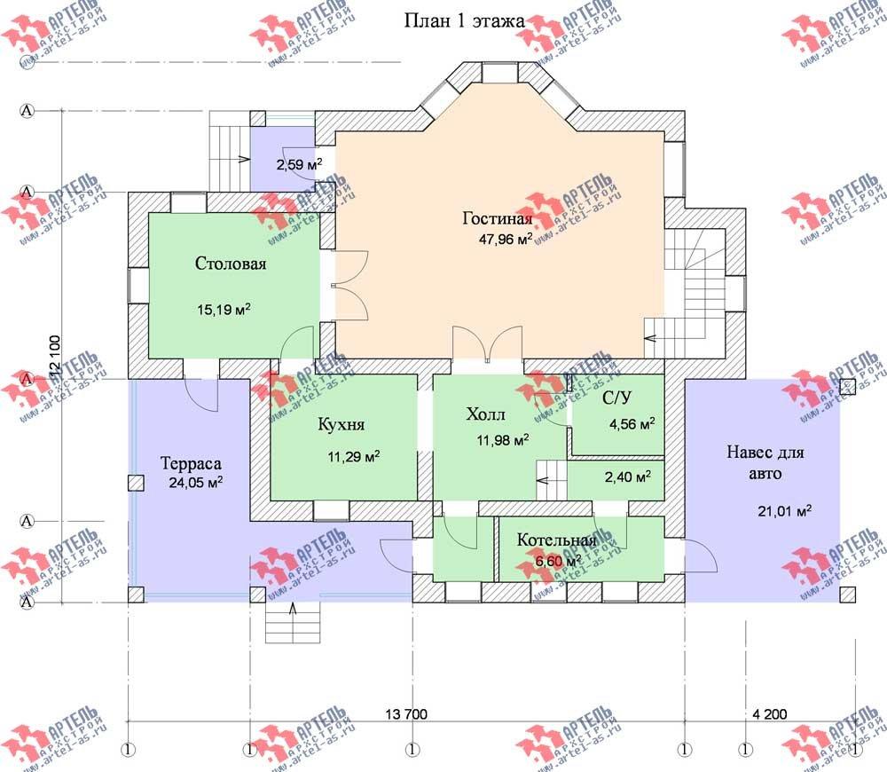 двухэтажный дом из камня площадью свыше 200 кв. м. с  балконом, террасой, эркером, проект Вариант 11 фотография 556