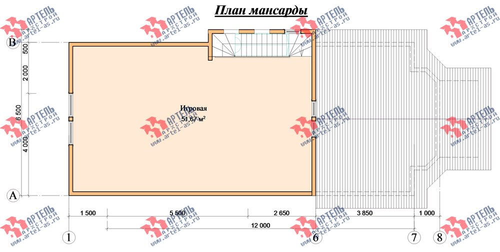 трёхэтажный дом из бруса площадью свыше 200 кв. м. с  балконом, мансардой, проект Вариант 6.3 Н фотография 2301