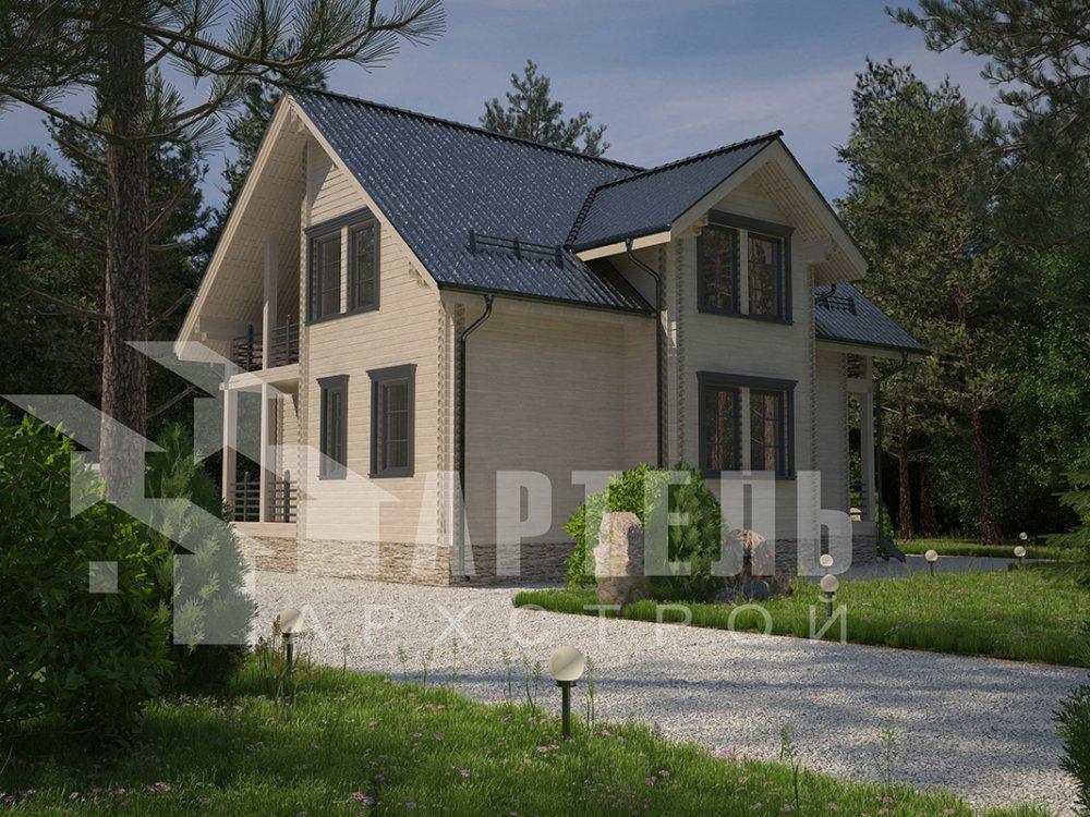 двухэтажный дом из профилированного бруса площадью от 150 до 200 кв. м. с  балконом, мансардой, эркером, проект Вариант 11 И фотография 4243