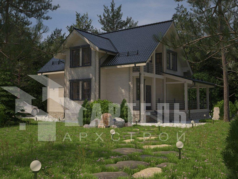 двухэтажный дом из профилированного бруса площадью от 150 до 200 кв. м. с  балконом, мансардой, эркером, проект Вариант 11 И фотография 4244