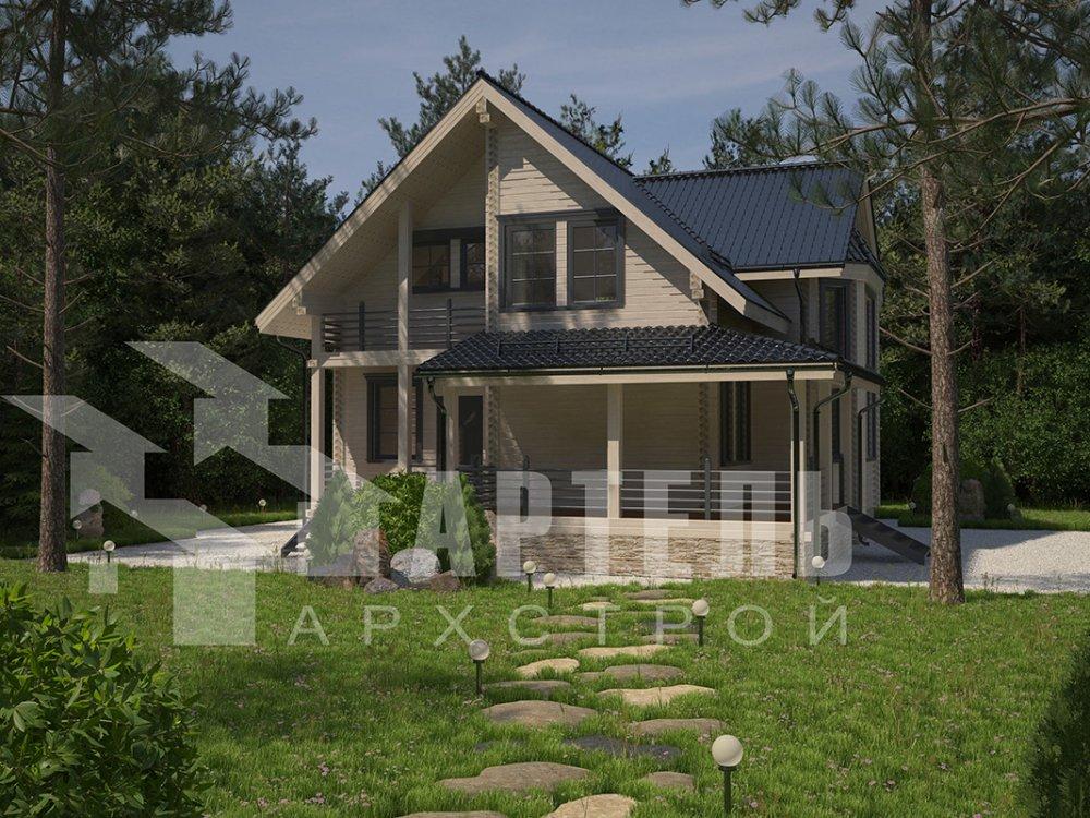 двухэтажный дом из профилированного бруса площадью от 150 до 200 кв. м. с  балконом, мансардой, эркером, проект Вариант 11 И фотография 4245