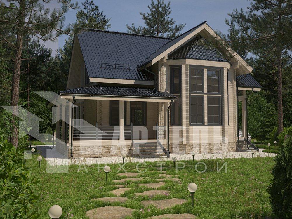 двухэтажный дом из профилированного бруса площадью от 150 до 200 кв. м. с  балконом, мансардой, эркером, проект Вариант 11 И фотография 4246