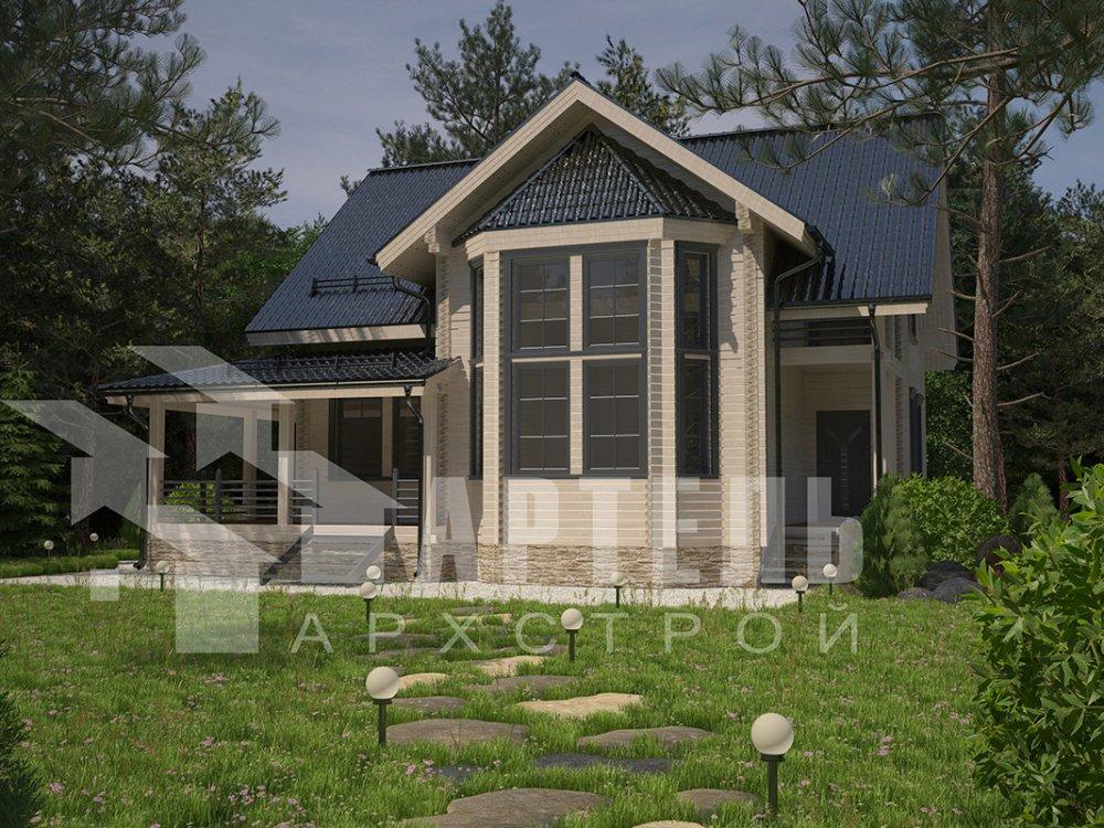 двухэтажный дом из профилированного бруса площадью от 150 до 200 кв. м. с  балконом, мансардой, эркером, проект Вариант 11 И фотография 4247