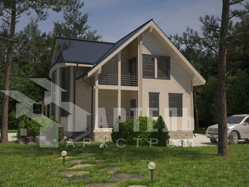 двухэтажный дом из профилированного бруса площадью от 150 до 200 кв. м. с  балконом, мансардой, эркером, проект Вариант 11 И фотография 4248