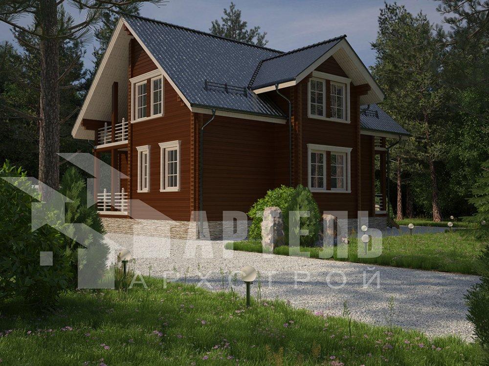 двухэтажный дом из профилированного бруса площадью от 150 до 200 кв. м. с  балконом, мансардой, эркером, проект Вариант 11 И фотография 4249