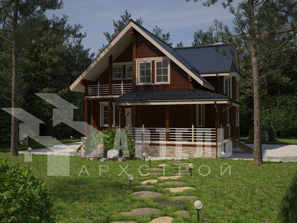 двухэтажный дом из профилированного бруса площадью от 150 до 200 кв. м. с  балконом, мансардой, эркером, проект Вариант 11 И фотография 4251