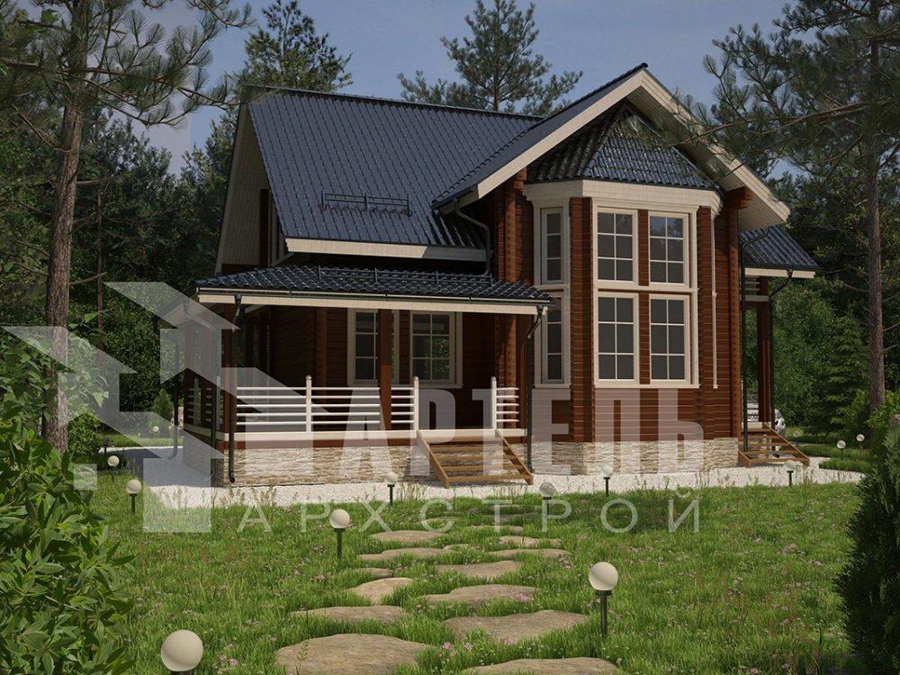 двухэтажный дом из профилированного бруса площадью от 150 до 200 кв. м. с  балконом, мансардой, эркером, проект Вариант 11 И фотография 4252