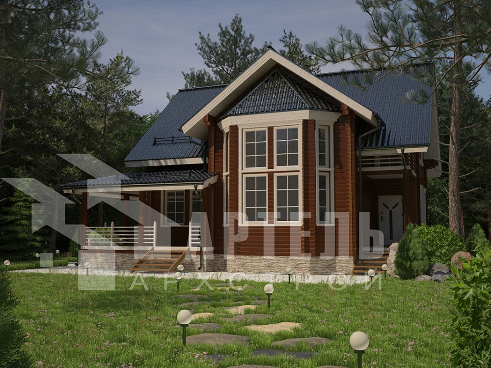 двухэтажный дом из профилированного бруса площадью от 150 до 200 кв. м. с  балконом, мансардой, эркером, проект Вариант 11 И фотография 4253