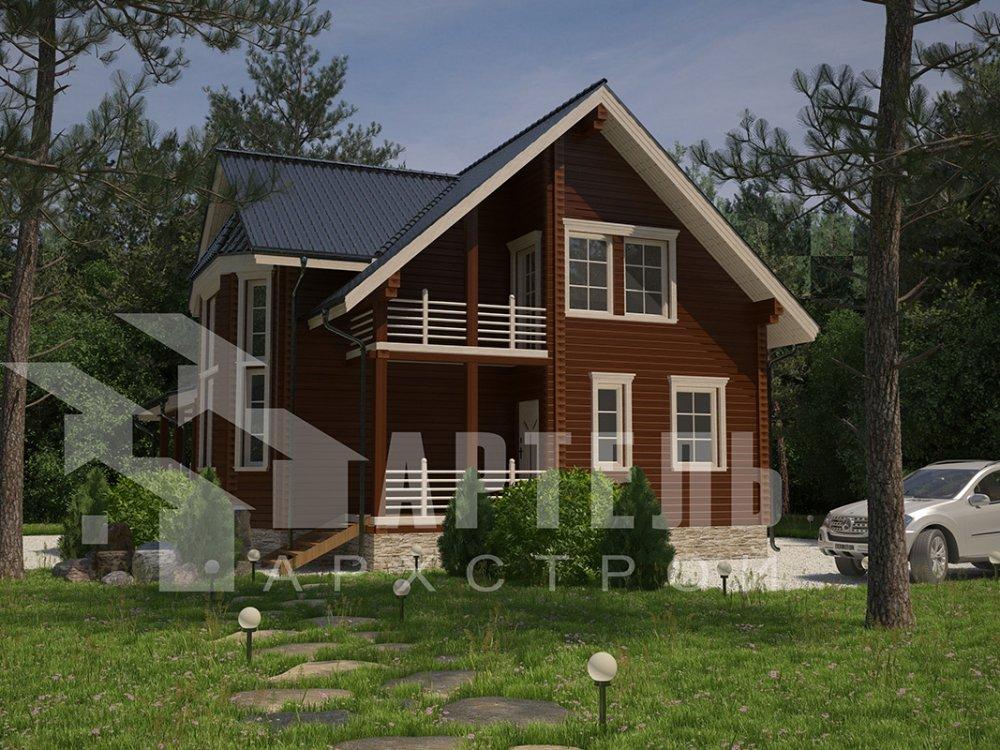 двухэтажный дом из профилированного бруса площадью от 150 до 200 кв. м. с  балконом, мансардой, эркером, проект Вариант 11 И фотография 4254
