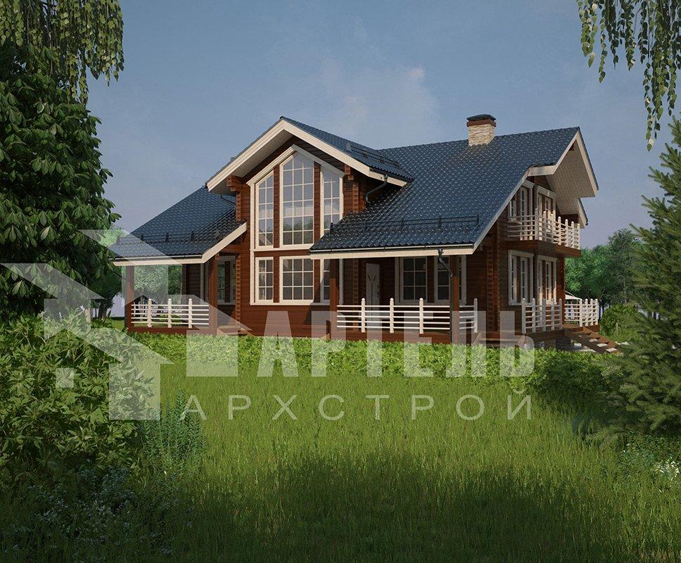 двухэтажный дом из профилированного бруса площадью свыше 200 кв. м. с  балконом, мансардой, террасой, эркером, проект Вариант 11 К фотография 4219