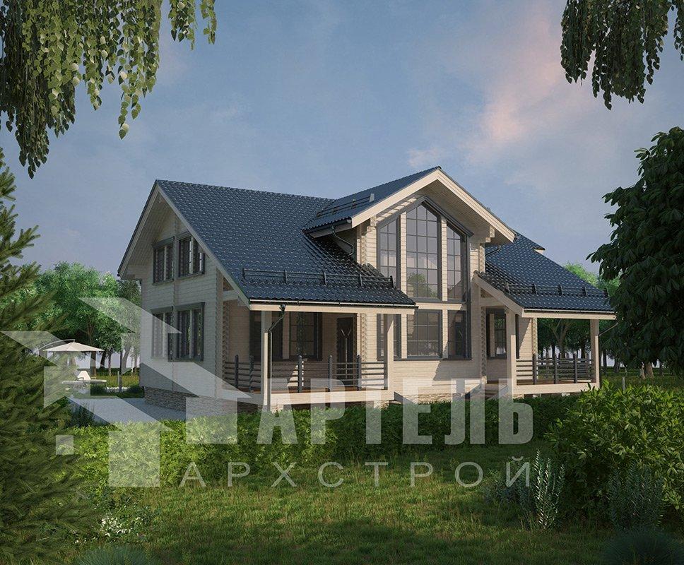 двухэтажный дом из профилированного бруса площадью свыше 200 кв. м. с  балконом, мансардой, террасой, эркером, проект Вариант 11 К фотография 4225