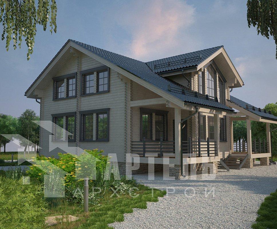двухэтажный дом из профилированного бруса площадью свыше 200 кв. м. с  балконом, мансардой, террасой, эркером, проект Вариант 11 К фотография 4230