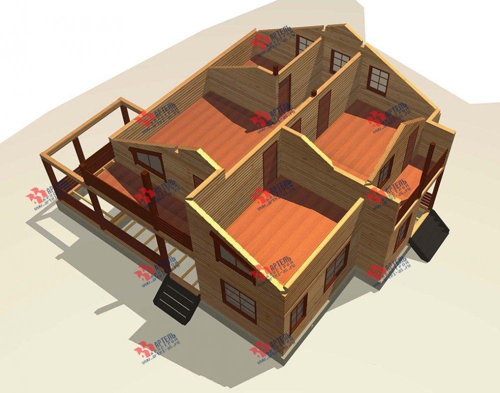 двухэтажный дом из профилированного бруса площадью свыше 200 кв. м. с  балконом, мансардой, террасой, проект Вариант 11 П фотография 3770