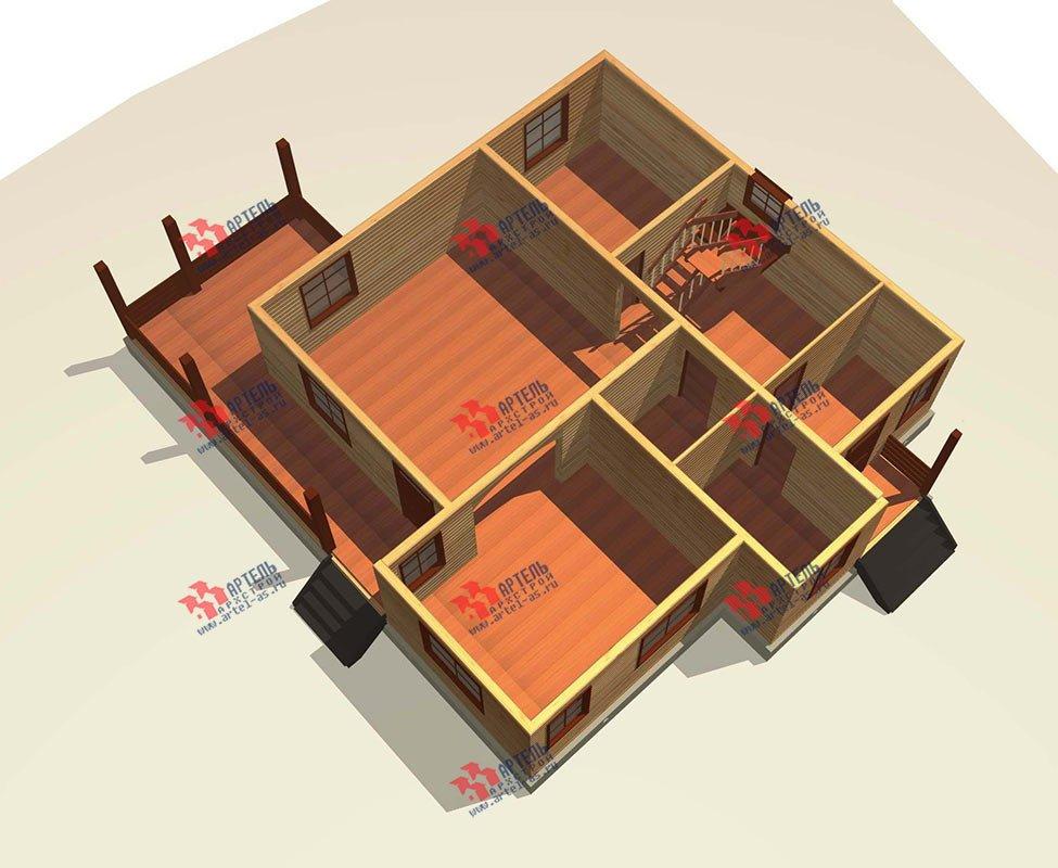 двухэтажный дом из профилированного бруса площадью свыше 200 кв. м. с  балконом, мансардой, террасой, проект Вариант 11 П фотография 3771