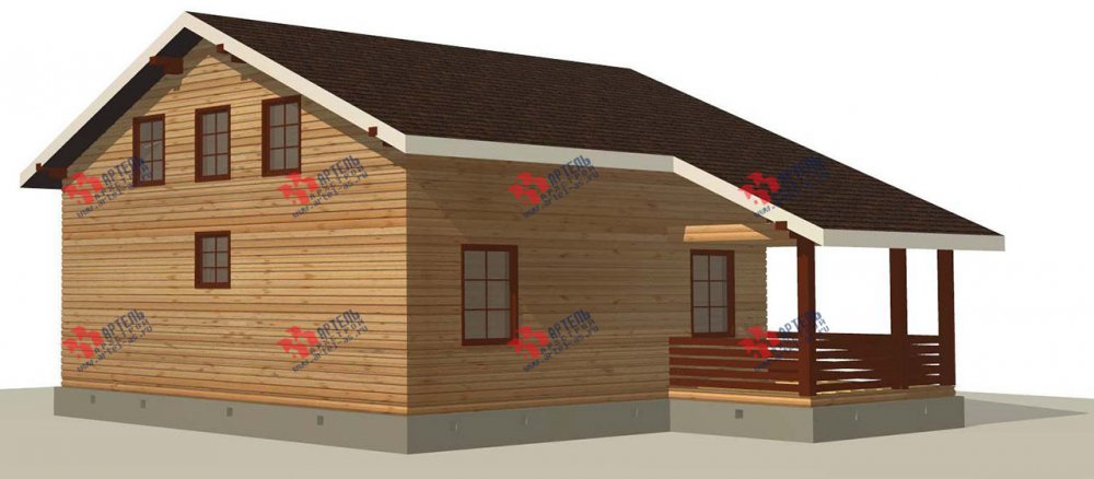 двухэтажный дом из профилированного бруса площадью свыше 200 кв. м. с  балконом, мансардой, террасой, проект Вариант 11 П фотография 3769