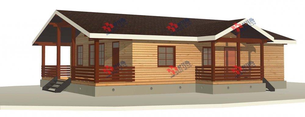 одноэтажный дом из профилированного бруса площадью от 100 до 150 кв. м. с  террасой, проект Вариант 12.4 Б фотография 3955