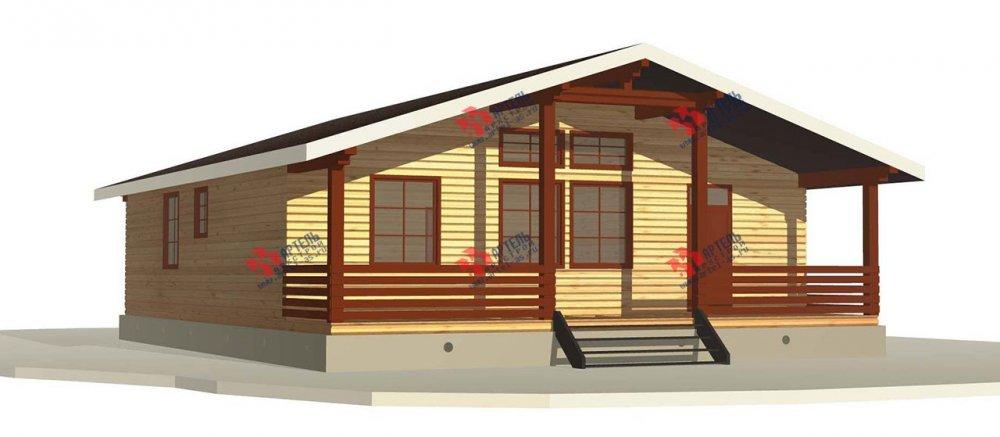 одноэтажный дом из профилированного бруса площадью от 100 до 150 кв. м. с  террасой, проект Вариант 12.4 Б фотография 3956