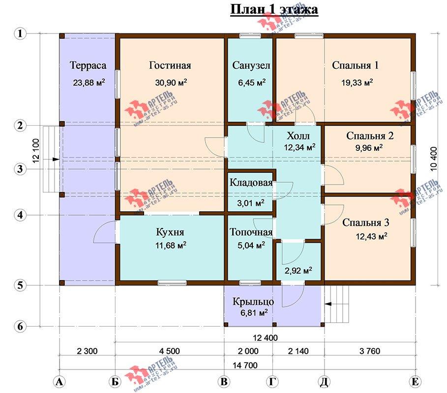 одноэтажный дом из профилированного бруса площадью от 100 до 150 кв. м. с  террасой, проект Вариант 12.4 Б фотография 4637