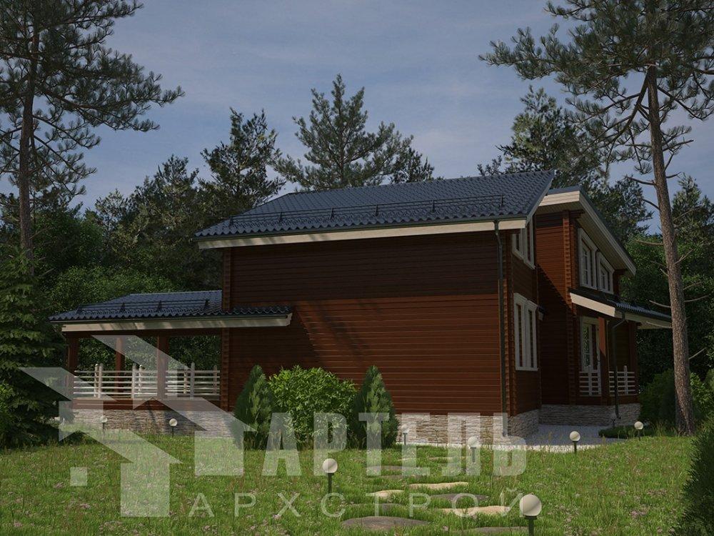 двухэтажный дом из профилированного бруса площадью свыше 200 кв. м. с  террасой, проект Вариант 12.4 В фотография 4891