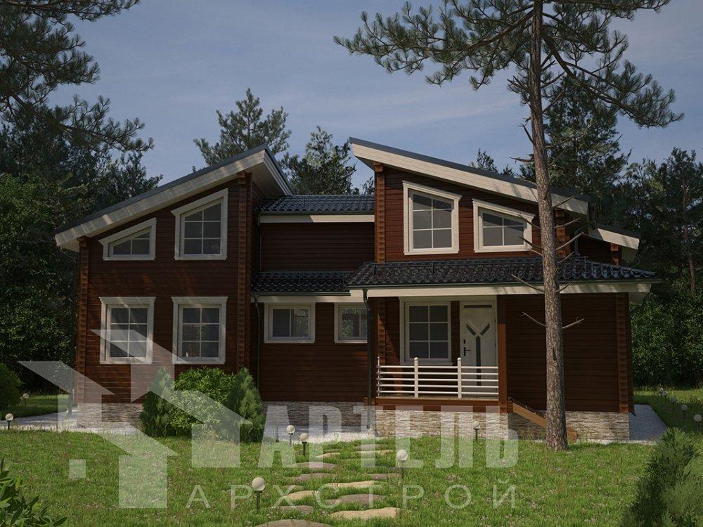 двухэтажный дом из профилированного бруса площадью свыше 200 кв. м. с  террасой, проект Вариант 12.4 В фотография 4890