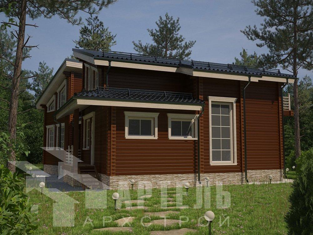 двухэтажный дом из профилированного бруса площадью свыше 200 кв. м. с  террасой, проект Вариант 12.4 В фотография 4889