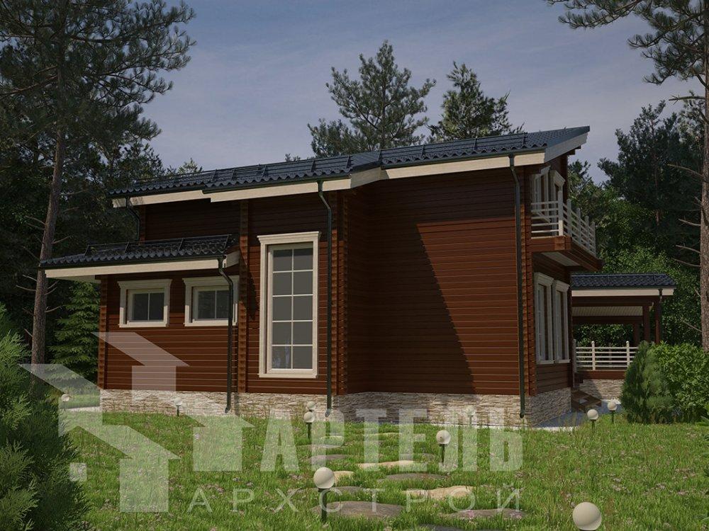 двухэтажный дом из профилированного бруса площадью свыше 200 кв. м. с  террасой, проект Вариант 12.4 В фотография 4888