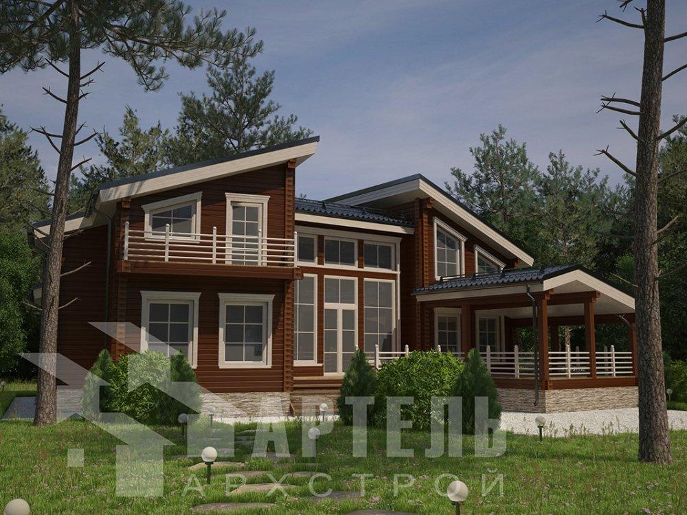 двухэтажный дом из профилированного бруса площадью свыше 200 кв. м. с  террасой, проект Вариант 12.4 В фотография 4887