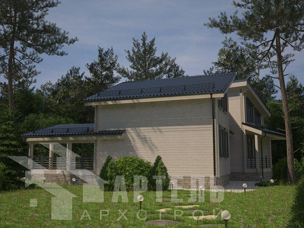двухэтажный дом из профилированного бруса площадью свыше 200 кв. м. с  террасой, проект Вариант 12.4 В фотография 4897