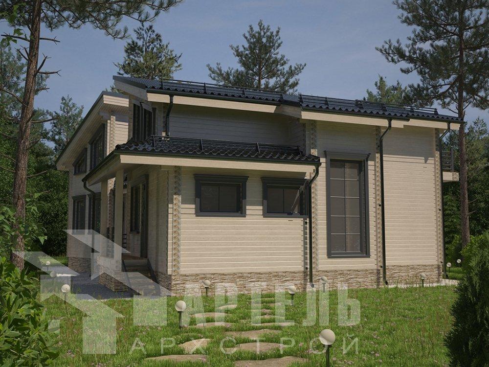 двухэтажный дом из профилированного бруса площадью свыше 200 кв. м. с  террасой, проект Вариант 12.4 В фотография 4895