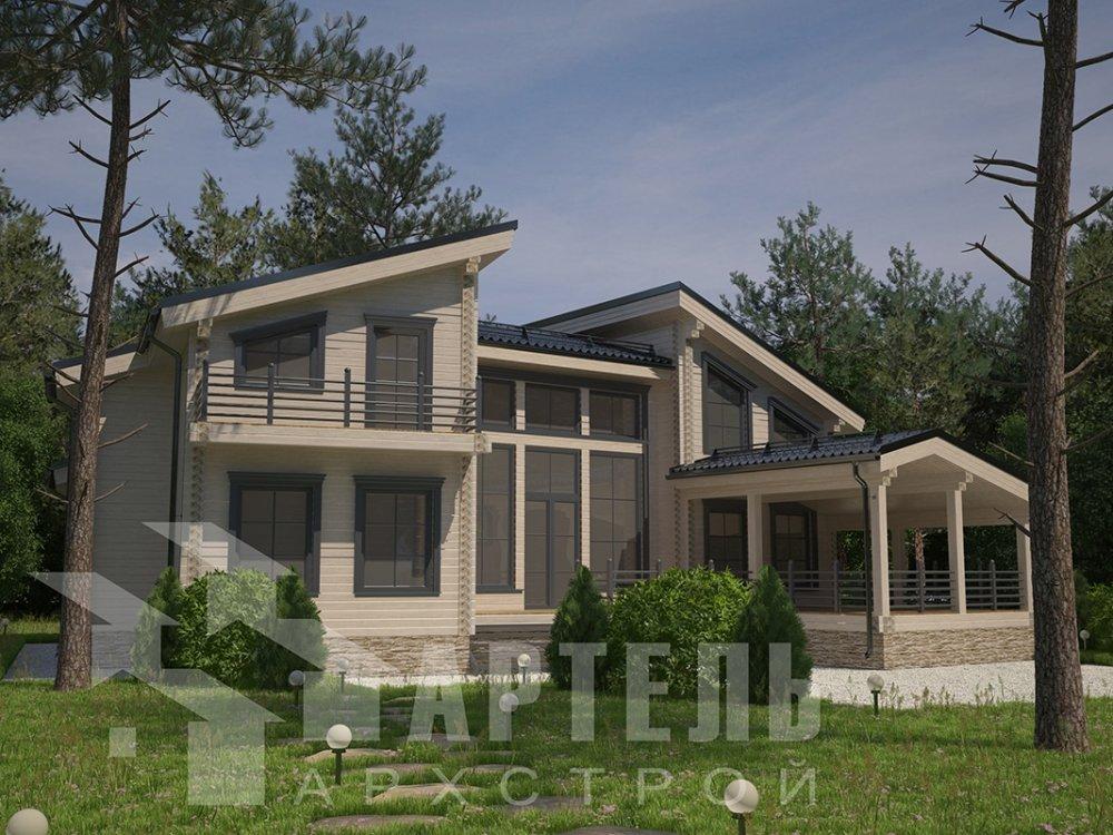 двухэтажный дом из профилированного бруса площадью свыше 200 кв. м. с  террасой, проект Вариант 12.4 В фотография 4893