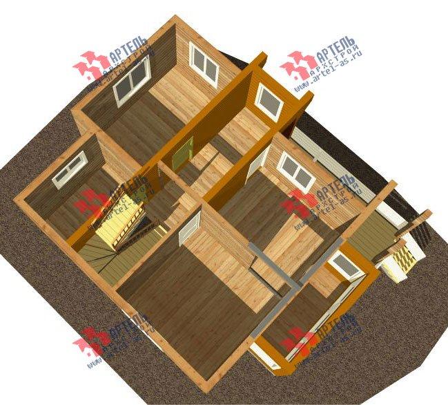 двухэтажный дом из профилированного бруса камерной сушки площадью от 100 до 150 кв. м. с  балконом, мансардой, террасой, проект Вариант 1 фотография 2518