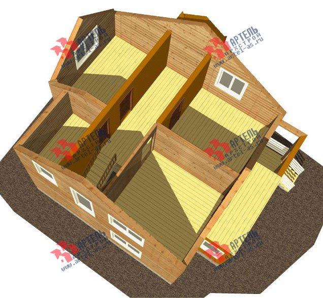 двухэтажный дом из профилированного бруса камерной сушки площадью от 100 до 150 кв. м. с  балконом, мансардой, террасой, проект Вариант 1 фотография 2519
