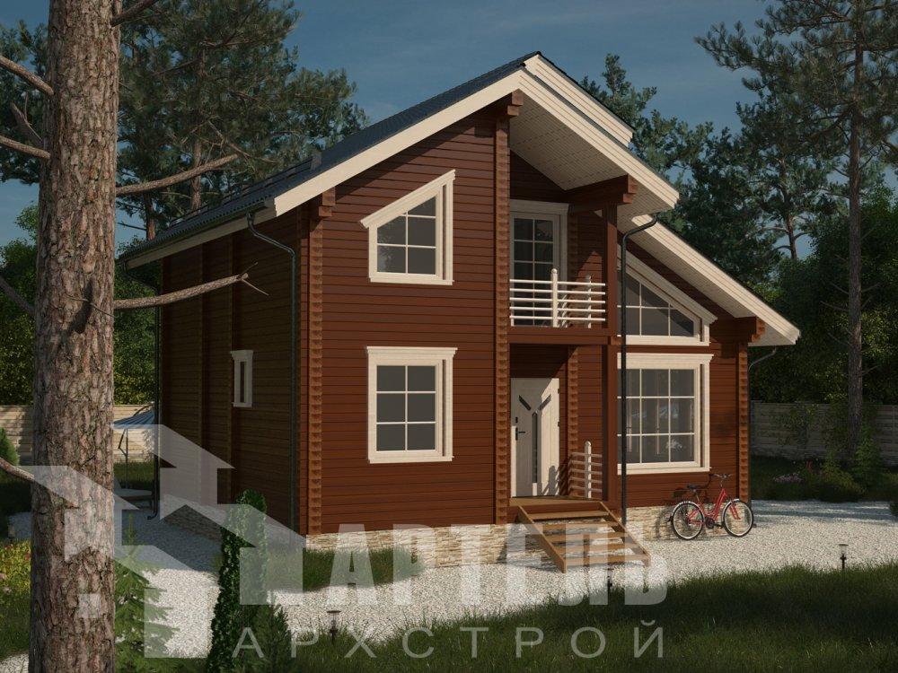 двухэтажный дом из профилированного бруса площадью от 100 до 150 кв. м. с  балконом, мансардой, проект Вариант 9.3 К фотография 6413