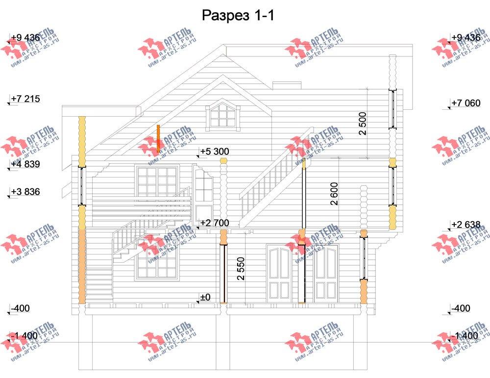 трёхэтажный дом из оцилиндрованного бревна площадью свыше 200 кв. м. с  балконом, террасой, проект Вариант 5 фотография 3088