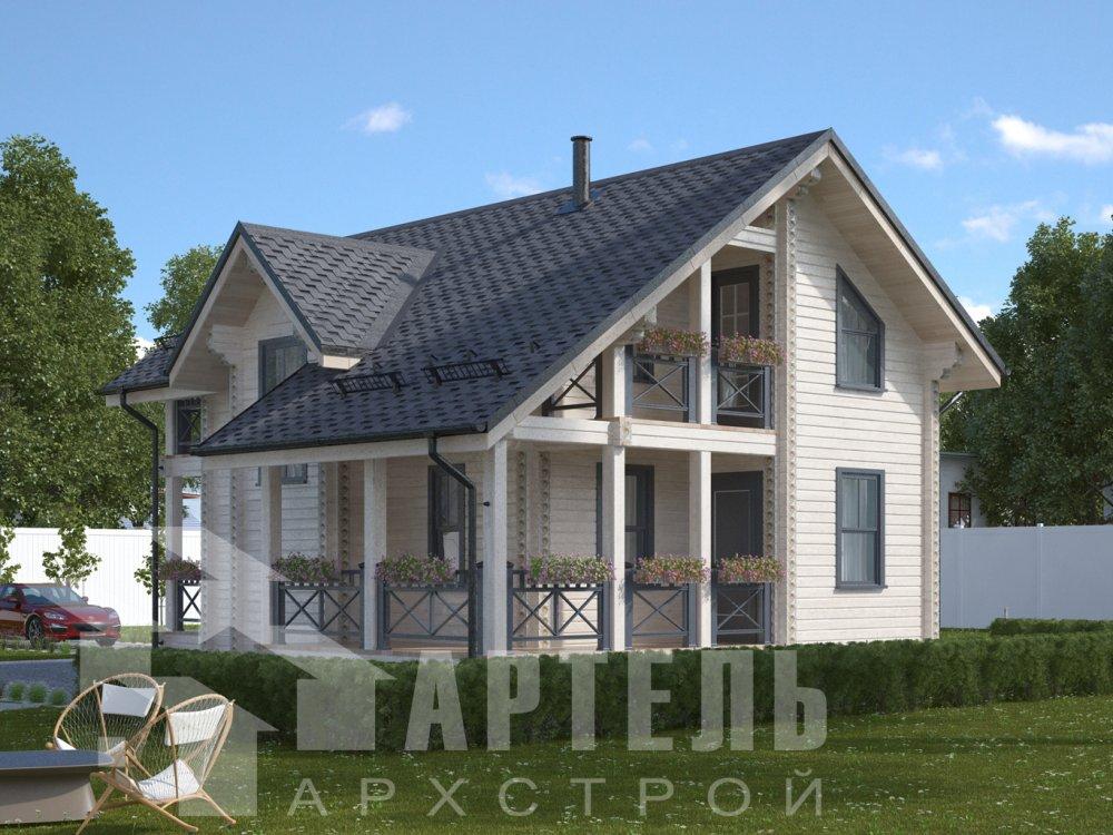 двухэтажный дом омбинированные дома площадью от 100 до 150 кв. м., проект Вариант 9,9К Камень и Комбинированный фотография 6505
