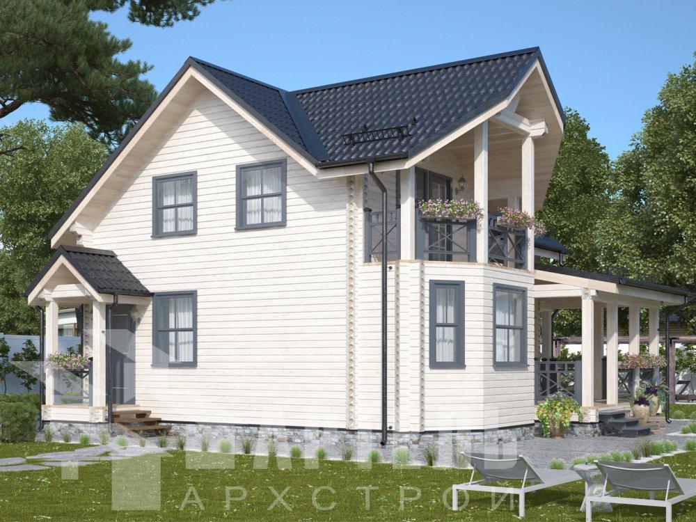 двухэтажный дом из профилированного бруса площадью от 100 до 150 кв. м. с  балконом, террасой, проект Вариант 10.7Л фотография 6554