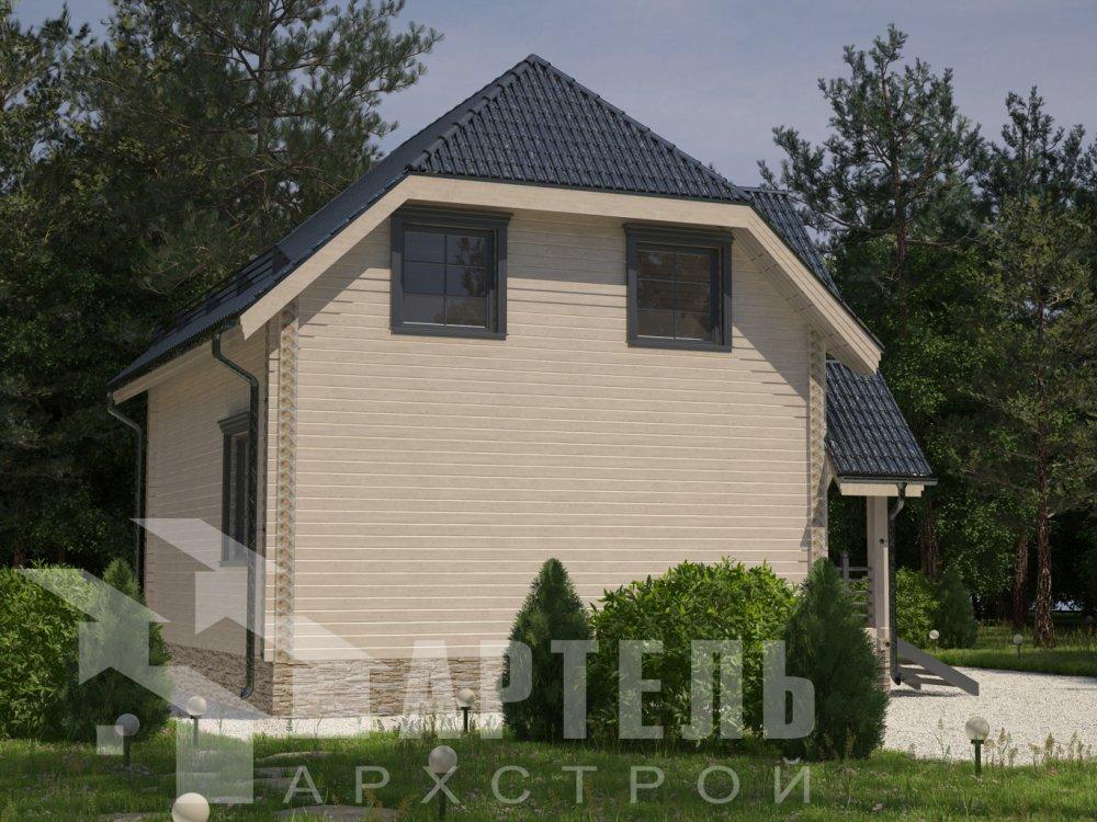 двухэтажный дом из профилированного бруса площадью до 100 кв. м. с  мансардой, эркером, проект Вариант 7 Г фотография 6602