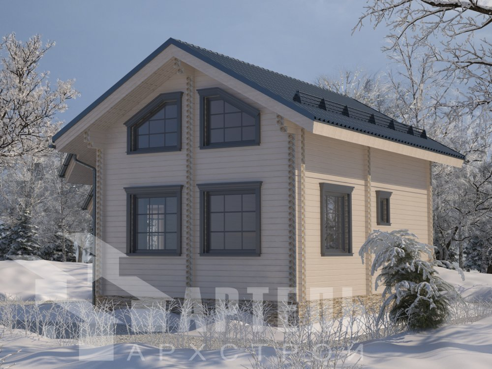 двухэтажный дом из профилированного бруса площадью от 100 до 150 кв. м. с  верандой, мансардой, эркером, проект Вариант 6 Л фотография 6621