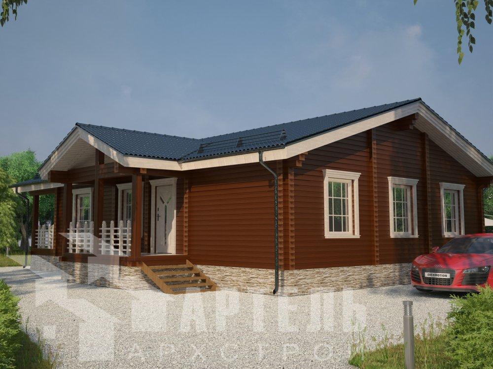 одноэтажный дом из профилированного бруса площадью от 100 до 150 кв. м. с  террасой, проект Вариант 12.4 Б фотография 6429