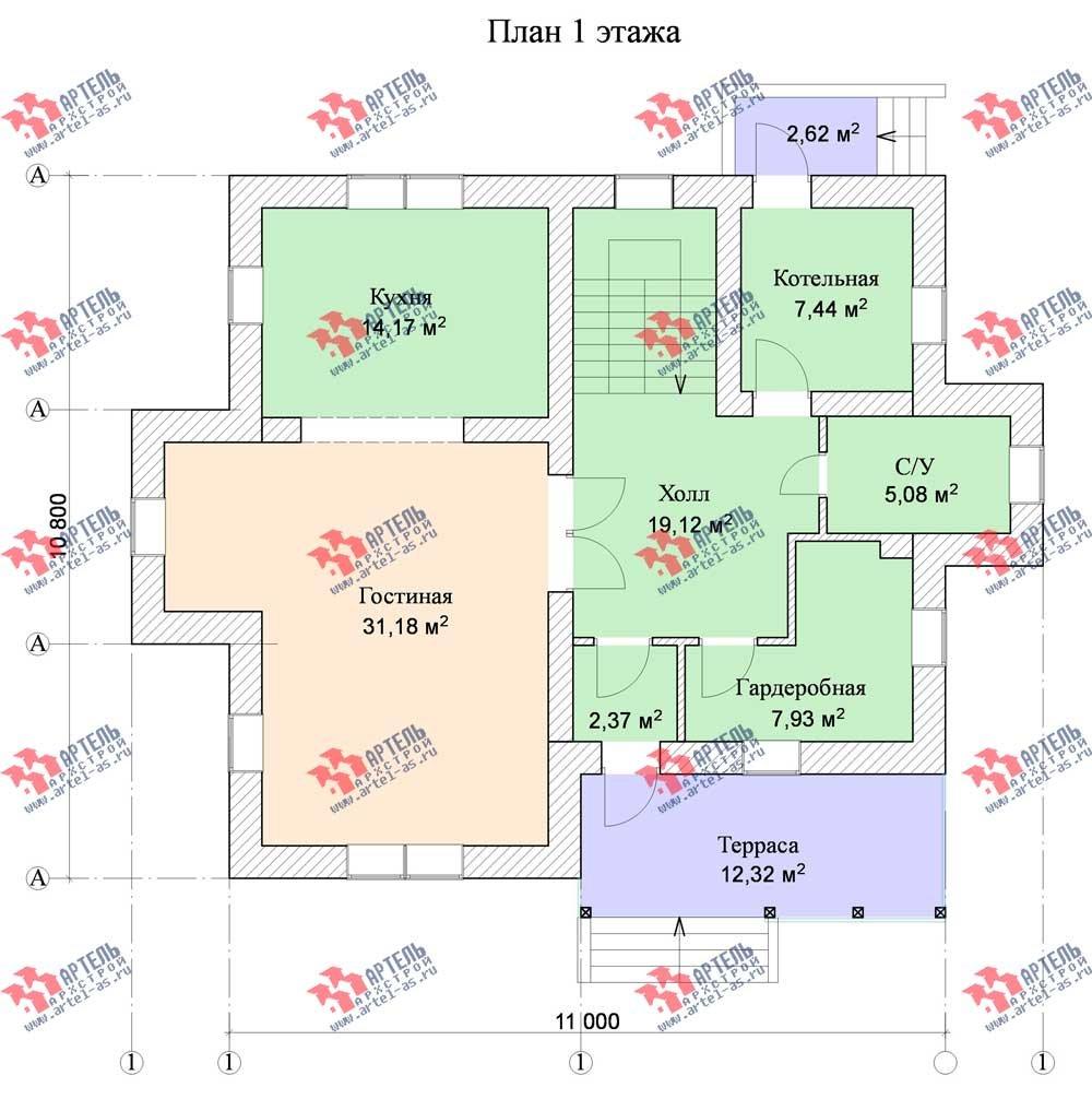 двухэтажный дом омбинированные дома площадью от 150 до 200 кв. м. с  террасой, эркером, проект Вариант 12 фотография 566