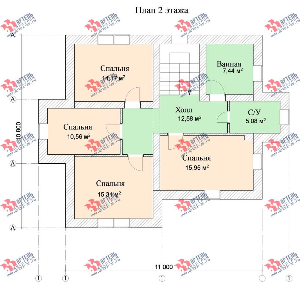 двухэтажный дом омбинированные дома площадью от 150 до 200 кв. м. с  террасой, эркером, проект Вариант 12 фотография 567