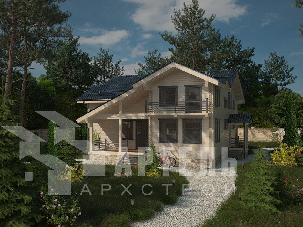 двухэтажный дом из профилированного бруса площадью свыше 200 кв. м. с  балконом, верандой, мансардой, проект Вариант 12 Б фотография 4120