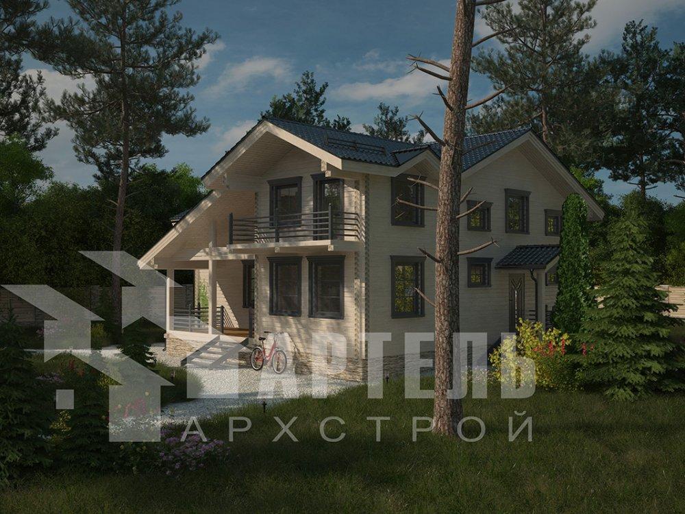 двухэтажный дом из профилированного бруса площадью свыше 200 кв. м. с  балконом, верандой, мансардой, проект Вариант 12 Б фотография 4121