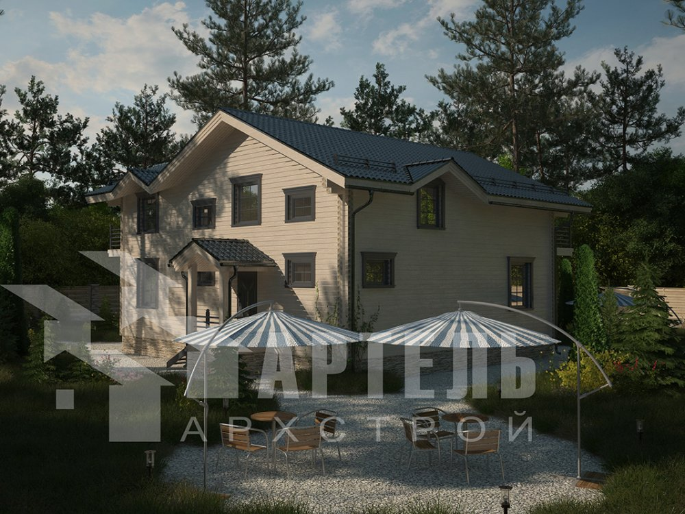 двухэтажный дом из профилированного бруса площадью свыше 200 кв. м. с  балконом, верандой, мансардой, проект Вариант 12 Б фотография 4122